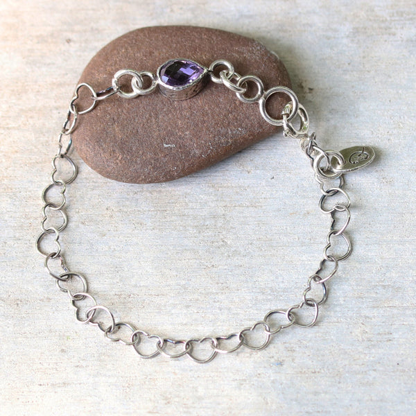 Bracelet pear faceted amethyst in silver bezel setting and oxidized sterling silver in heart shape design chain