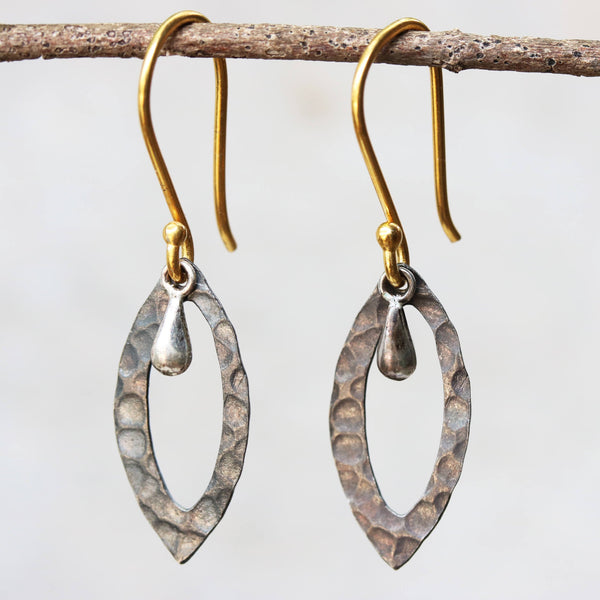 Silver hammered texture earrings with polished silver drop - Metal Studio Jewelry