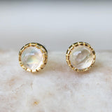 Earrings,Tiny round cabochon moonstone in prongs setting with 18k gold in stud style - Metal Studio Jewelry