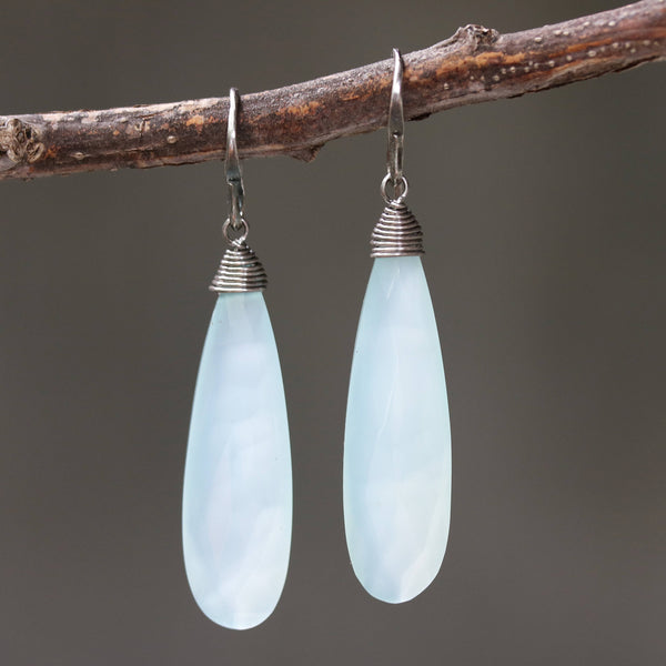 Blue chalcedony teardrop faceted earrings with silver wire wrapped on oxidized sterling silver hooks style(FBA)