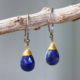 Teardrop faceted lapis lazuli earrings with brass wire wrapped and oxidized sterling silver hooks style - Metal Studio Jewelry