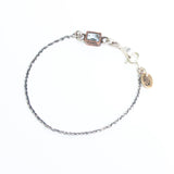 Octagon faceted blue topaz bracelet in copper bezel setting and sterling silver oxidized double rope chain(FBA)