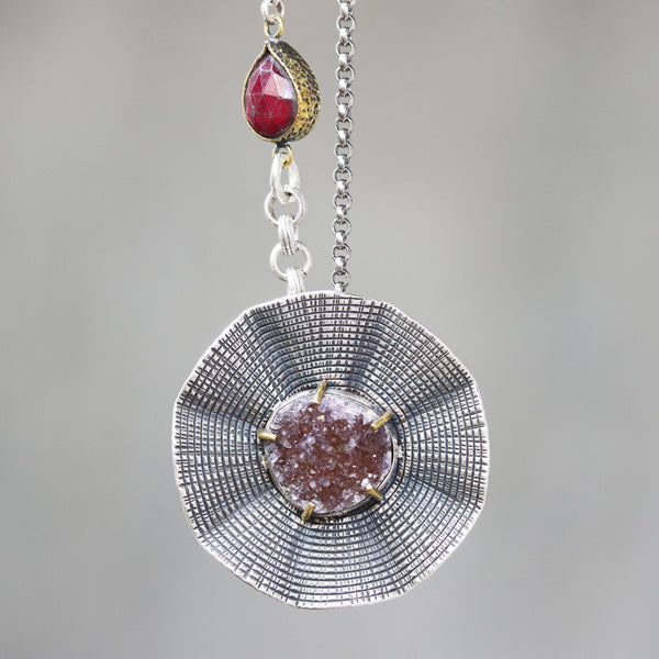 Flower pendant necklace with Brazilian druzy in silver bezel setting and ruby secondary gemstone on Sterling silver oxidized chain