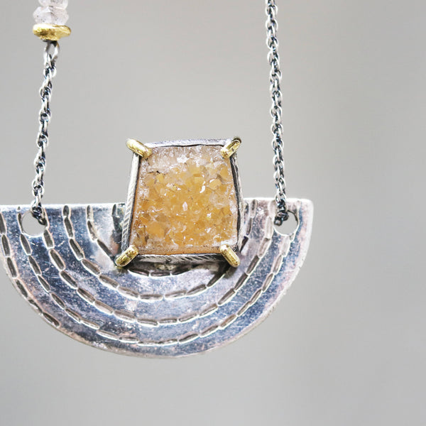 Yellow Brazilian druzy pendant necklace in silver bezel and brass prongs setting with silver fan engraving textured on silver oxidized (FBA)