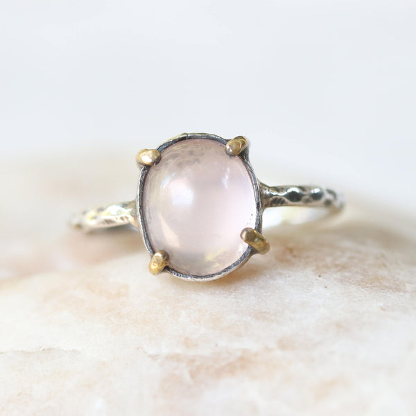 Rose quartz cabochon ring with silver and brass bezel setting and textured band - Metal Studio Jewelry