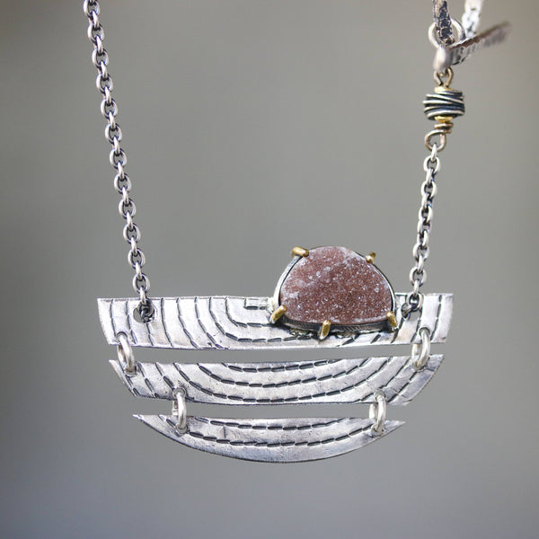 Sterling silver semi-circle engraving texture folding accordion pendant necklace with brown druzy on oxidized sterling silver chain - Metal Studio Jewelry
