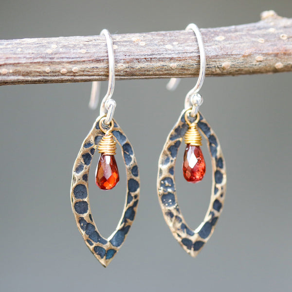 Garnet earrings and oxidized brass marquis shape in hammer textured on sterling silver hook style - Metal Studio Jewelry