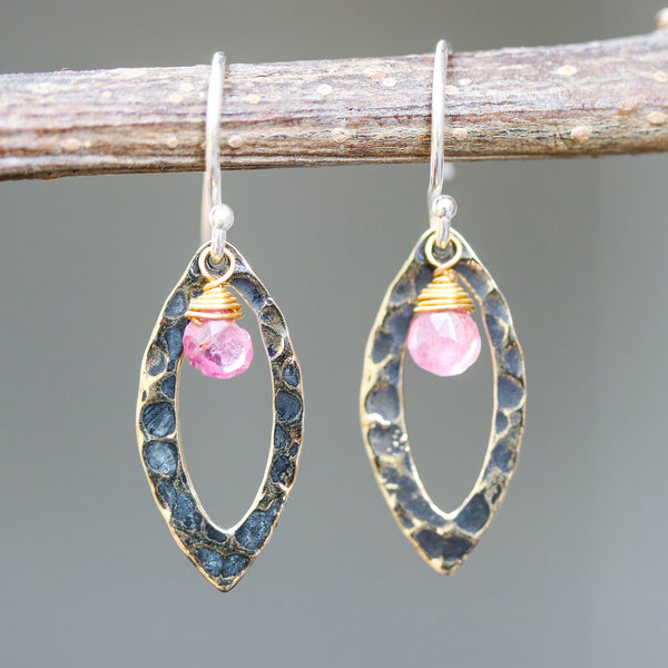 Pink tourmaline earrings and oxidized brass marquis shape in hammer textured on sterling silver hook style - Metal Studio Jewelry
