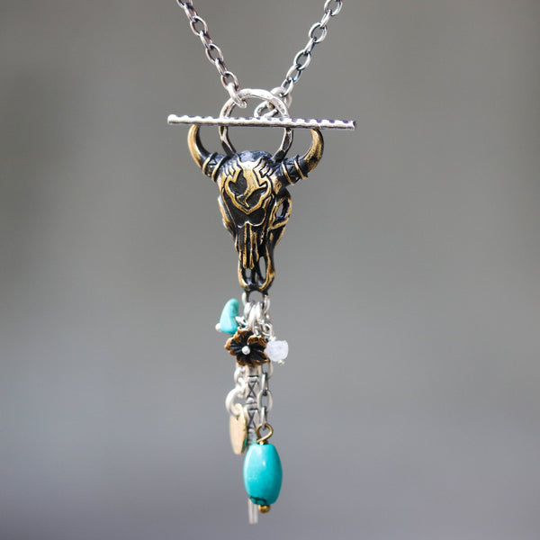 Brass Buffalo shape pendant necklace and turquoise gemstone set with 3 oval silver ring secondary on oxidized sterling silver chain - Metal Studio Jewelry