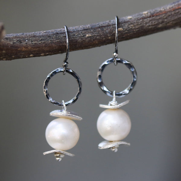 Natural freshwater pearls earrings and silver plate with hammer silver oxidized loops on sterling silver oxidized hooks style - Metal Studio Jewelry