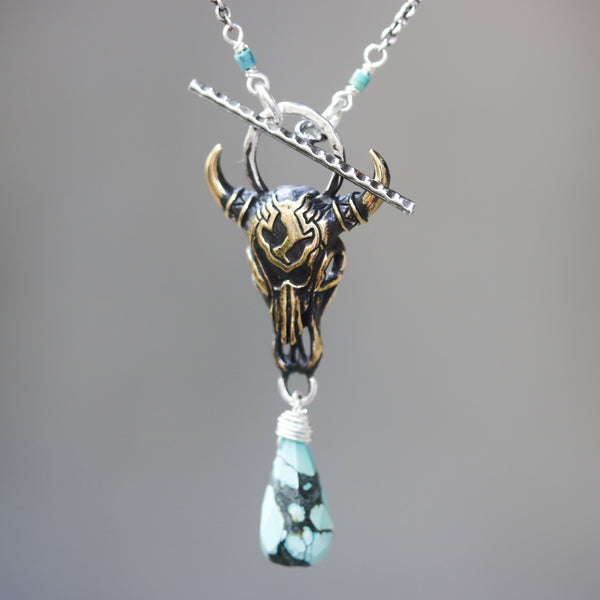 Brass Buffalo shape pendant necklace and turquoise gemstone with turquoise beads and silver ring secondary on sterling silver chain - Metal Studio Jewelry
