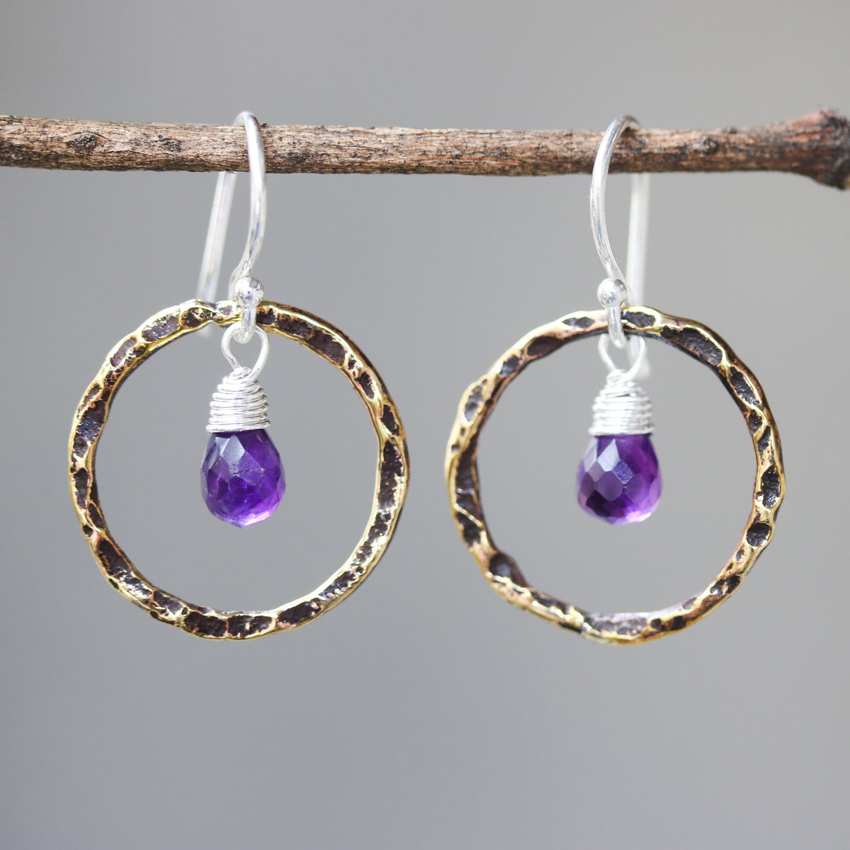 Amethyst earrings and oxidized brass circle shape in hammer textured on sterling silver hook style(FBA)