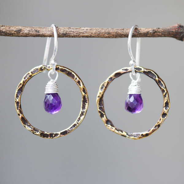 Amethyst earrings and oxidized brass circle shape in hammer textured on sterling silver hook style