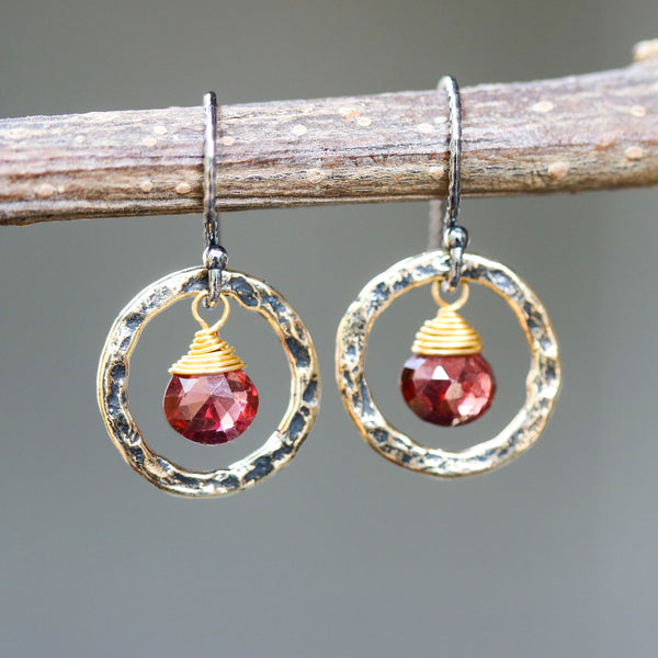 Garnet earrings and oxidized brass circle shape in hammer textured on sterling silver hook style(FBA)