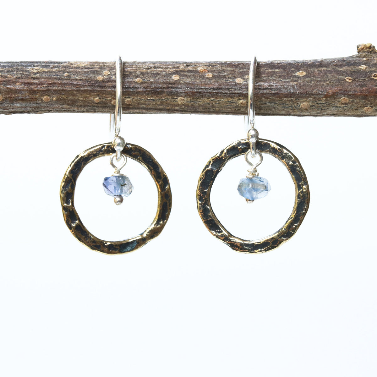 Iolite earrings and oxidized brass circle shape in hammer textured on sterling silver hook style(FBA)