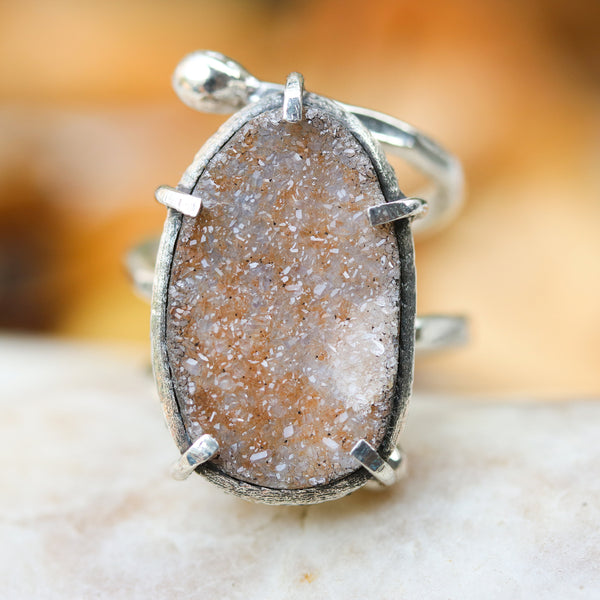 Oval Brazilian druzy ring in silver bezel and prongs setting with double wrap sterling silver hammered texture band - Metal Studio Jewelry