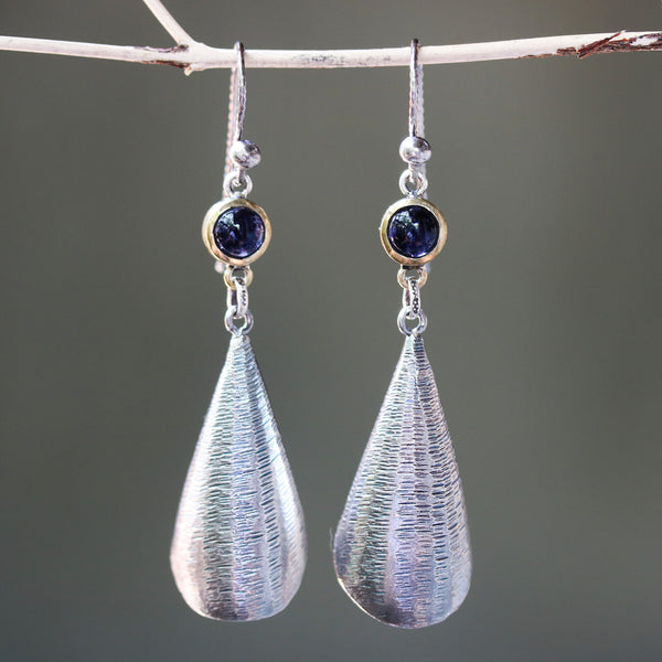 Silver leaf shape earrings with textured and tiny Iolite in brass bezel setting on oxidized sterling silver hooks style - Metal Studio Jewelry