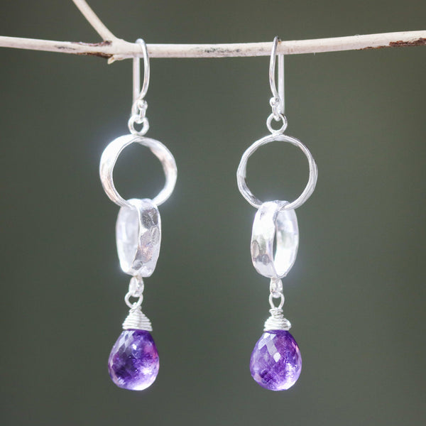 Teardrop faceted Amethyst earrings with 2 ring design sterling silver on silver hooks style - Metal Studio Jewelry