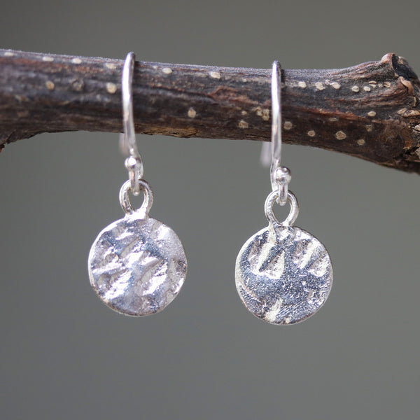 Sterling silver discs 8.5 mm earrings with texture and hangs on sterling silver hook style - Metal Studio Jewelry
