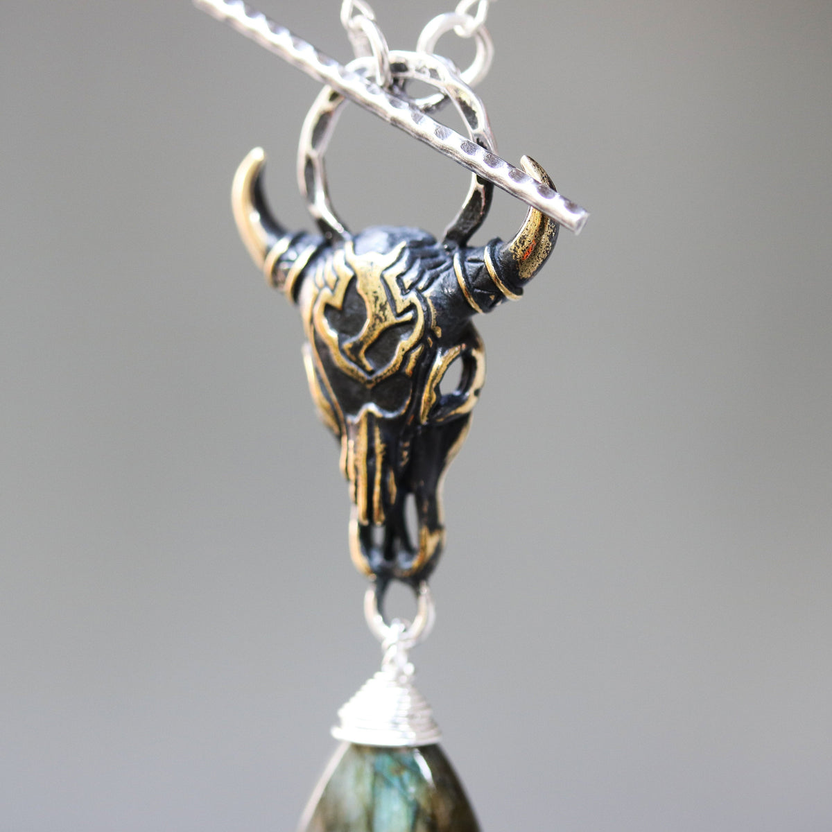 Brass Buffalo shape pendant necklace and labradorite gemstone with labradorite beads and silver ring secondary on sterling silver chain(FBA)