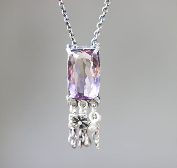 Radiant Ametrine necklace in silver bezel and prongs setting with silver beads chain and flower decoration on oxidized sterling silver chain