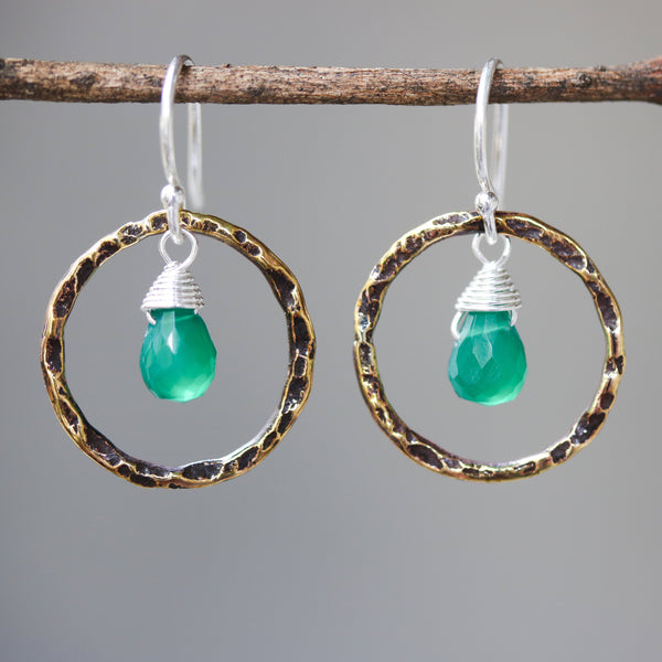 Green onyx earrings and oxidized brass circle shape in hammer textured on sterling silver hook style - Metal Studio Jewelry