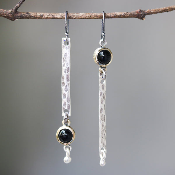 Round cabochon black onyx earrings in brass bezel setting with silver bar hammer textured on sterling silver hooks style - Metal Studio Jewelry