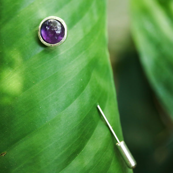 Tiny round cabochon Amethyst brooch in silver bezel setting with silver plated on brass pin - Metal Studio Jewelry