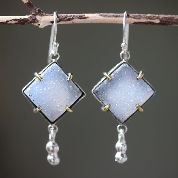Square gray Druzy earrings in silver bezel setting with brass accent prongs and peanut silver on sterling silver hooks - Metal Studio Jewelry