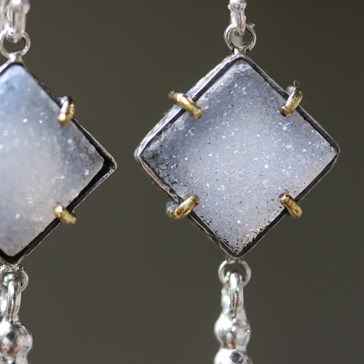 Square gray Druzy earrings in silver bezel setting with brass accent prongs and peanut silver on sterling silver hooks(FBA)
