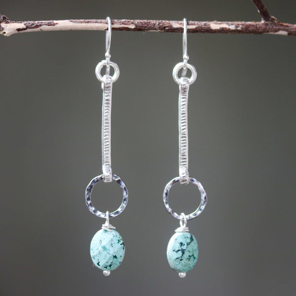 Earrings,Oval blue turquoise with silver stick and silver circle ring on sterling silver hooks style