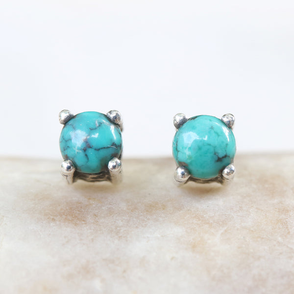 Sterling silver stud earrings with cabochon turquoise in prongs setting with sterling silver post and backing - Metal Studio Jewelry