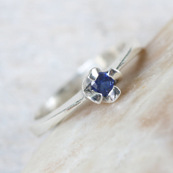 Dainty,Round faceted blue sapphire ring in silver prongs setting with sterling silver high polished band - Metal Studio Jewelry