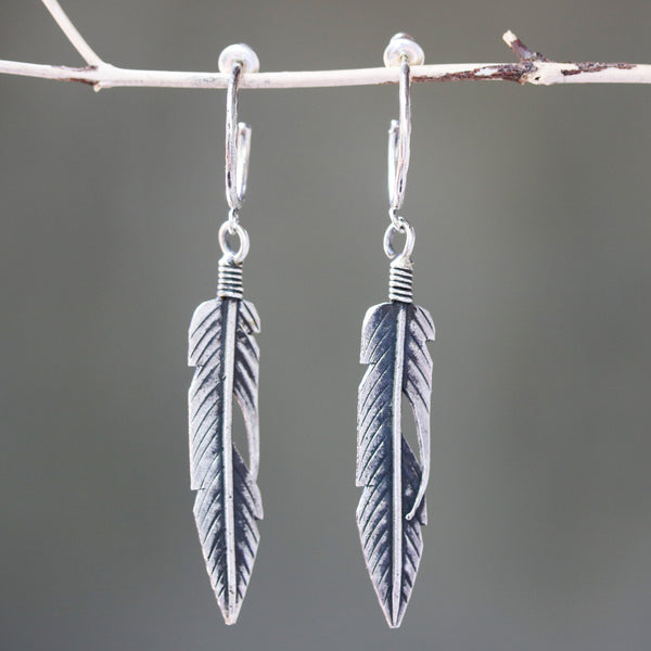 Sterling silver leaf earrings with oxidized on sterling silver post style - Metal Studio Jewelry
