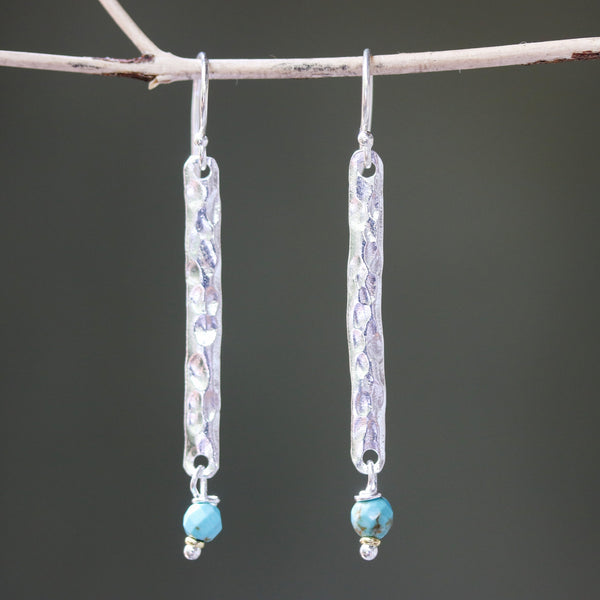 Sterling silver bar earrings with hammer textured and turquoise beads on silver hooks style - Metal Studio Jewelry