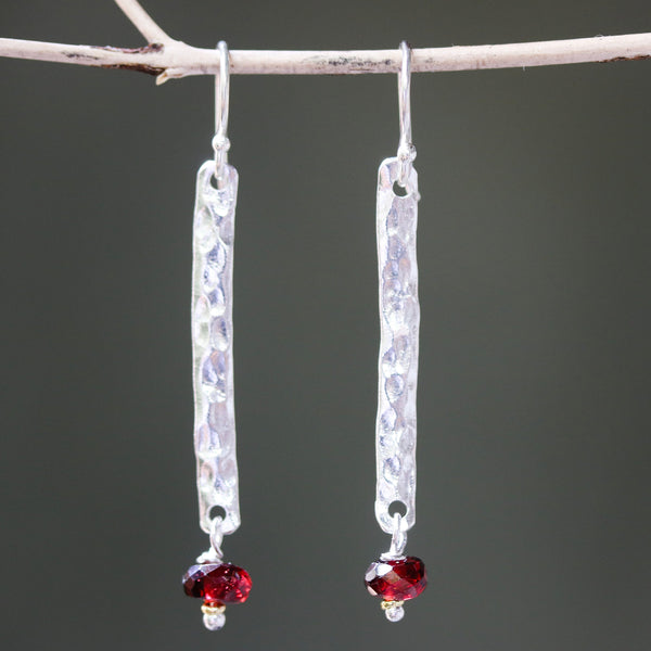 Sterling silver bar earrings with hammer textured and garnet beads on silver hooks style
