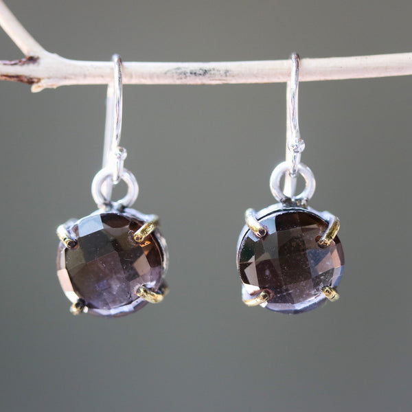 Round faceted smoky quartz earrings in silver bezel and brass prongs setting on sterling silver hooks style - Metal Studio Jewelry
