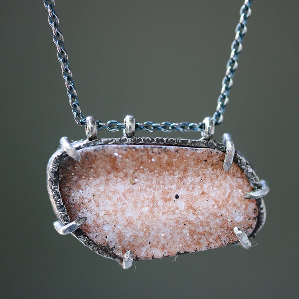 Peach Druzy quartz pendant necklace in silver bezel and prongs setting with silver beads on the side oxidized sterling silver chain