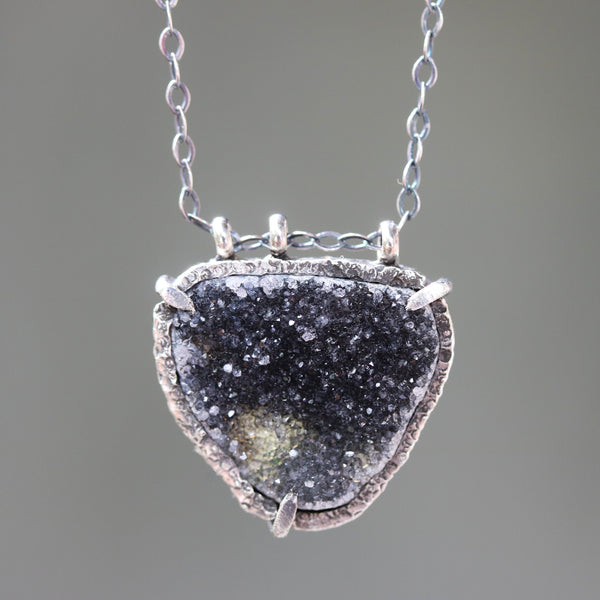 Triangle Black Druzy quartz pendant necklace in silver bezel and prongs setting with black multi sapphire on the side and silver chain