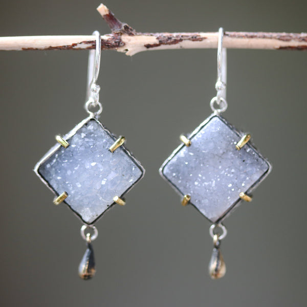 Square gray Druzy earrings in silver bezel setting with brass accent prongs and brass teardrop on sterling silver hooks - Metal Studio Jewelry