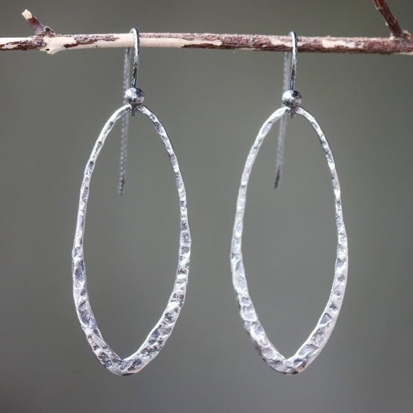 Silver oxidized hammer textured teardrop hoop earrings with sterling silver hooks