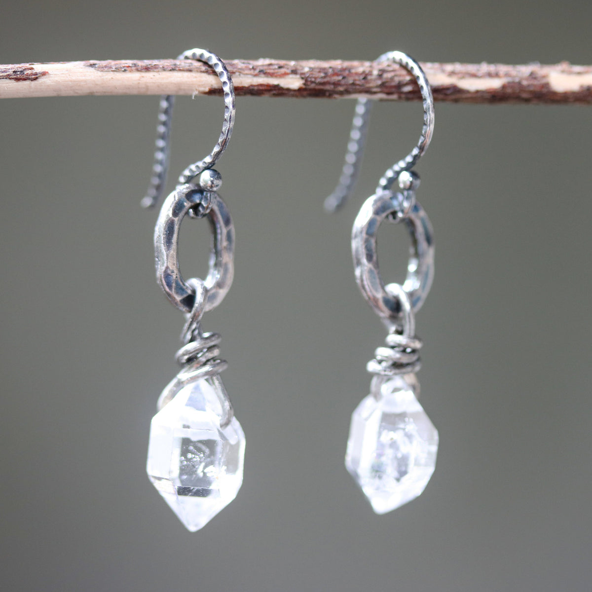 Earrings,Clear quartz crystal with silver oval shape with hammer textures on sterling silver hooks style(FBA)