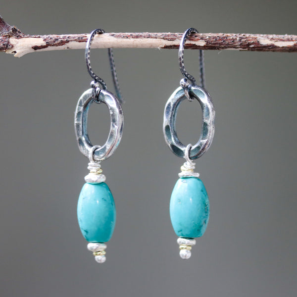 Earrings,Turquoise with silver oval shape with hammer textures on sterling silver hooks style(FBA)