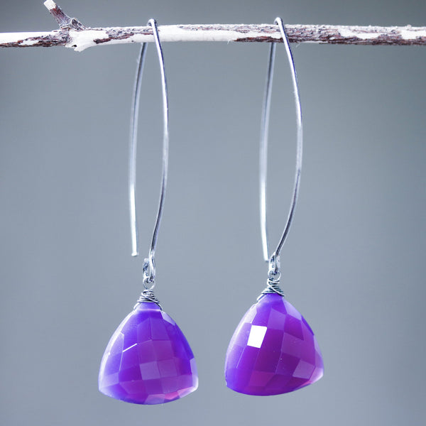 Triangular purple chalcedony earrings with silver wire wrapped on sterling silver marquise ear wires - Metal Studio Jewelry
