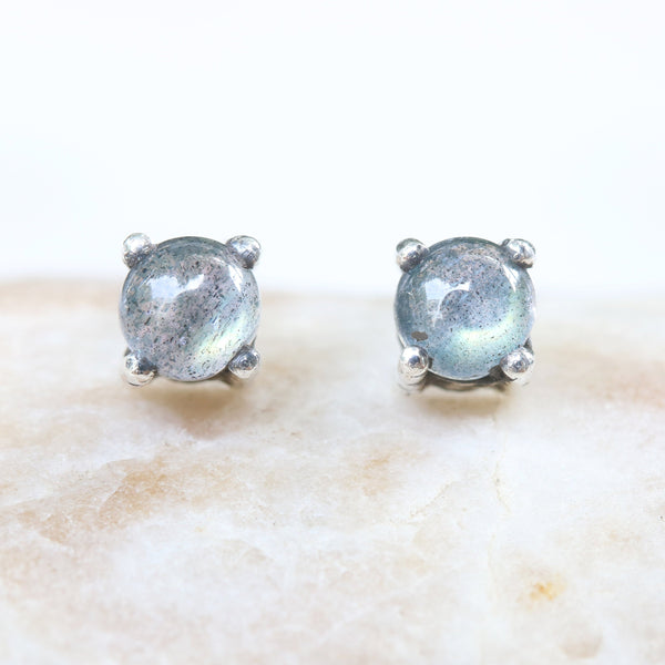 Sterling silver stud earrings with cabochon labradorite in prongs setting with sterling silver post and backing