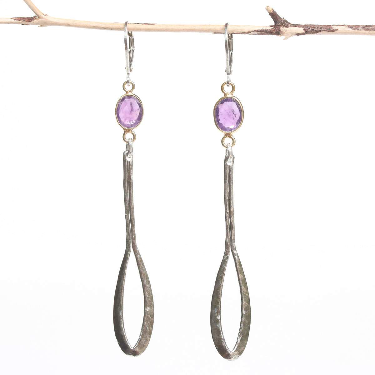 Amethyst earrings in gold plated bezel setting and silver leaf on sterling silver hook style(FBA)