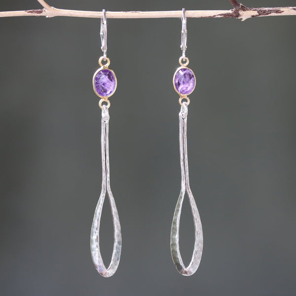 Amethyst drop earrings, dangle earrings, boho earrings, silver drop earrings, silver dangle earrings, birthstone earring, gemstone earrings - Metal Studio Jewelry
