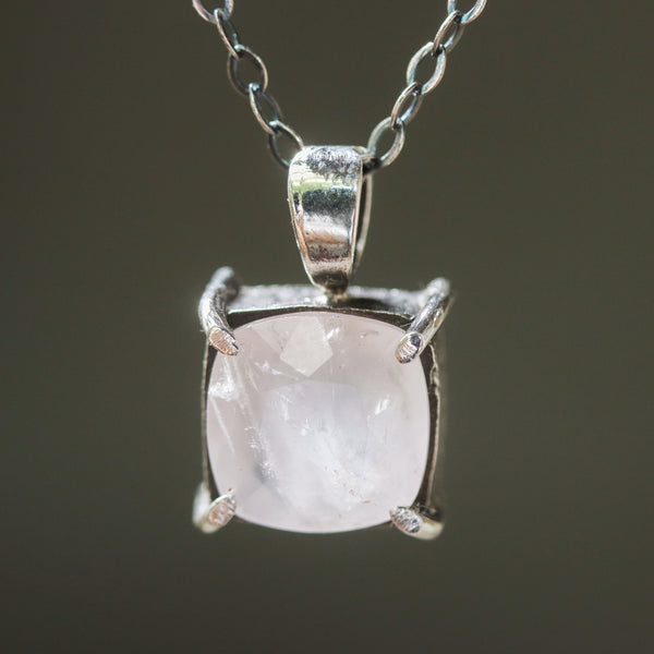 Square faceted Rose quartz gemstone pendant necklace in silver bezel and prongs setting and multi-pink sapphire on the side on chain - Metal Studio Jewelry