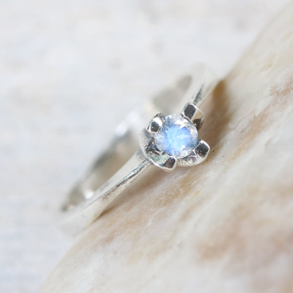 Dainty,Round faceted moonstone ring in silver prongs setting with sterling silver high polished band - Metal Studio Jewelry