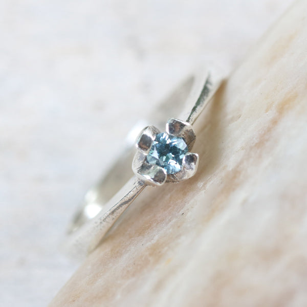 Dainty,Round faceted blue topaz ring in silver prongs setting with sterling silver high polished band - Metal Studio Jewelry